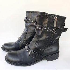 Sam Edelman 'Adele' Moto Boot-Black Leather-10M